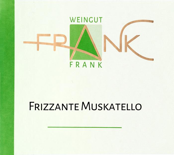 Etikette Frizzante Muskatello Weingut Frank