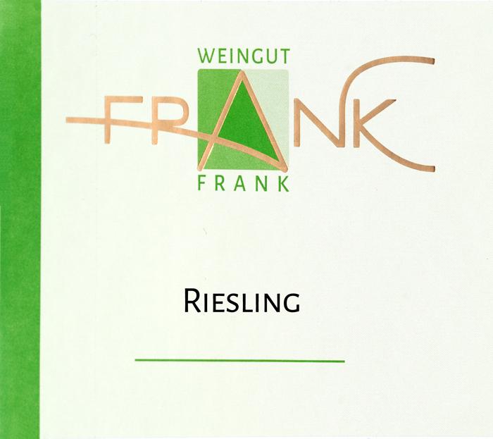 Etikette Riesling Weingut Frank