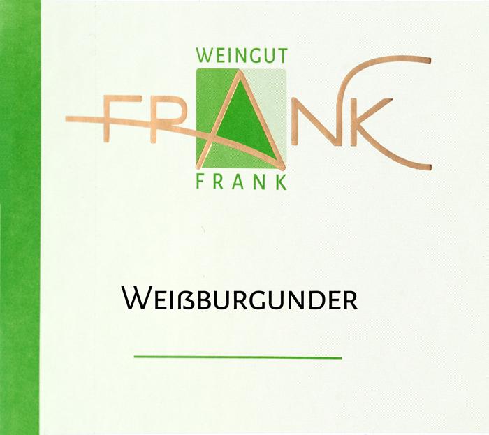 Etikette Weißburgunder Weingut Frank