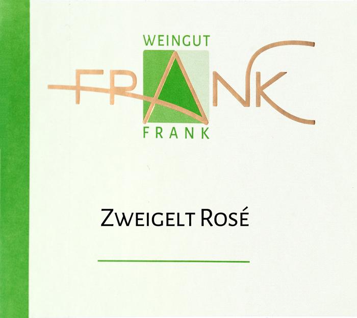 Etikette Zweigelt Rose Weingut Frank