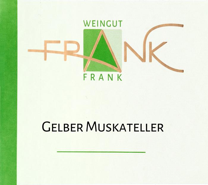 Etikette Gelbe Muskateller Weingut Frank
